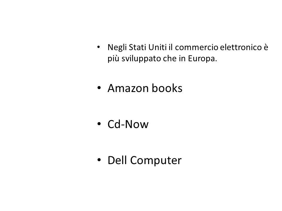 Negli Stati Uniti il commercio elettronico è più sviluppato che in Europa. Amazon books Cd-Now Dell Computer