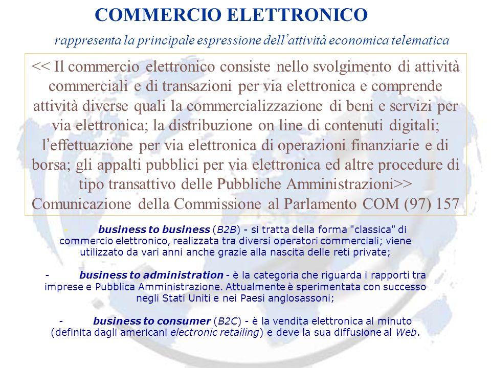 COMMERCIO ELETTRONICO rappresenta la principale espressione dell attività economica telematica > Comunicazione della Commissione al Parlamento COM (97) 157 - business to business (B2B) - si tratta della forma classica di commercio elettronico, realizzata tra diversi operatori commerciali; viene utilizzato da vari anni anche grazie alla nascita delle reti private; - business to administration - è la categoria che riguarda i rapporti tra imprese e Pubblica Amministrazione.