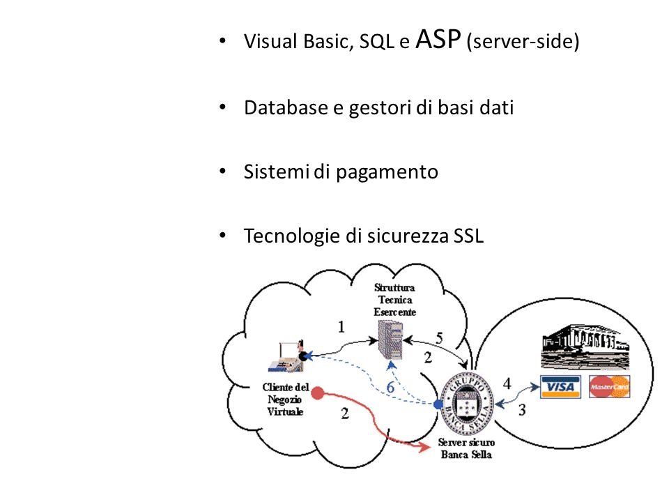 Visual Basic, SQL e ASP (server-side) Database e gestori di basi dati Sistemi di pagamento Tecnologie di sicurezza SSL