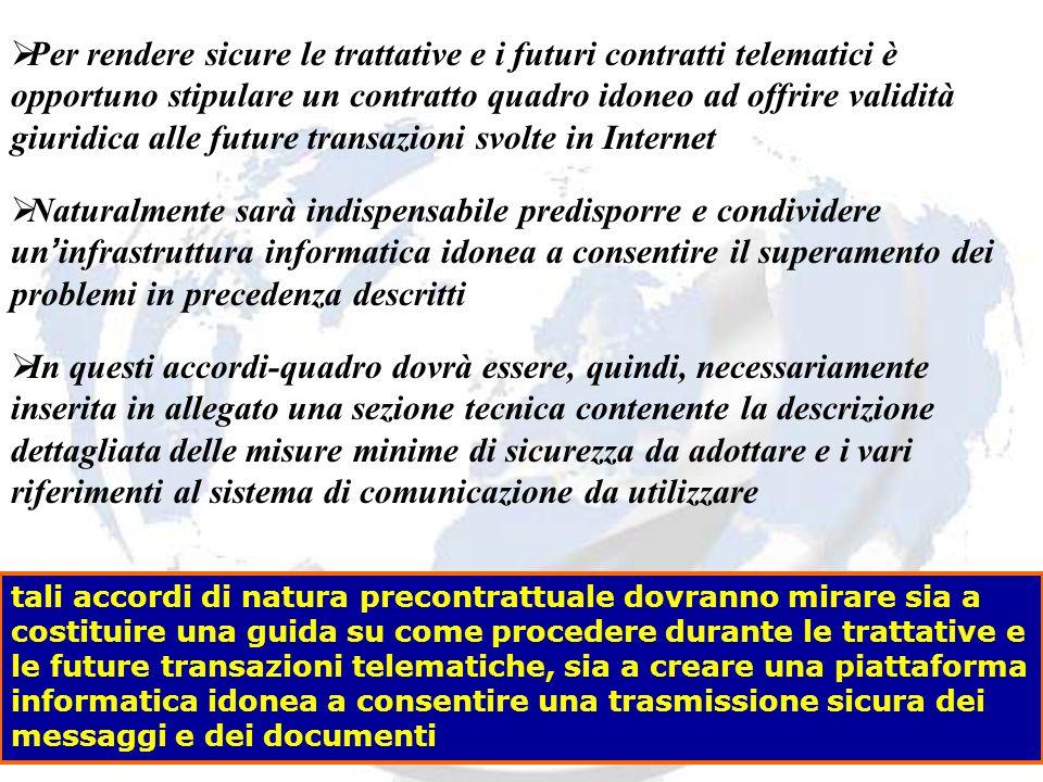 Per rendere sicure le trattative e i futuri contratti telematici è opportuno stipulare un contratto quadro idoneo ad offrire validità giuridica alle f