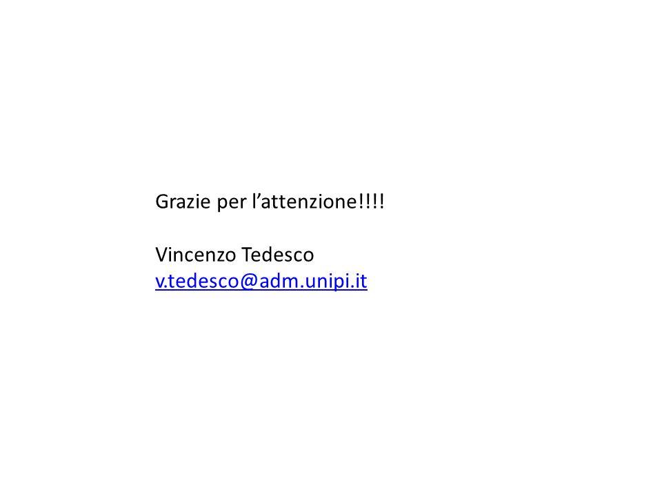 Grazie per lattenzione!!!! Vincenzo Tedesco v.tedesco@adm.unipi.it