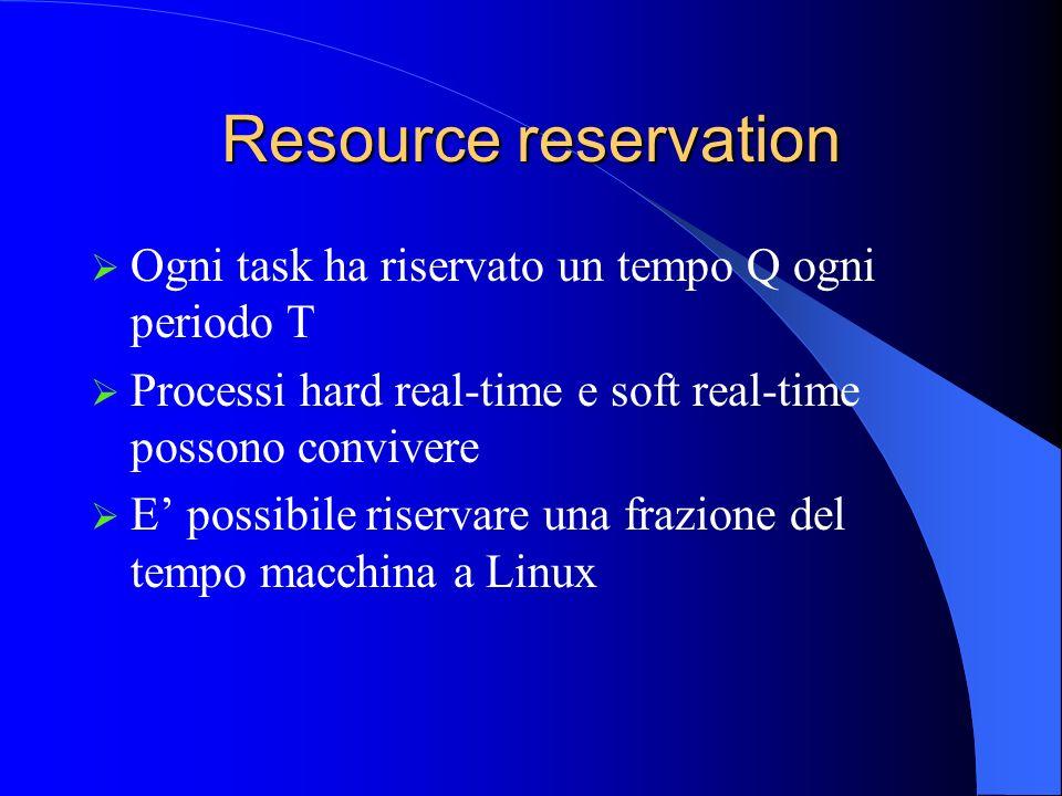 Resource reservation Ogni task ha riservato un tempo Q ogni periodo T Processi hard real-time e soft real-time possono convivere E possibile riservare