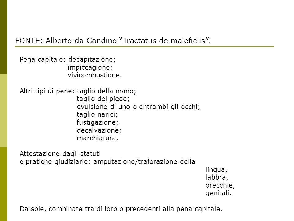 FONTE: Alberto da Gandino Tractatus de maleficiis. Pena capitale: decapitazione; impiccagione; vivicombustione. Altri tipi di pene: taglio della mano;