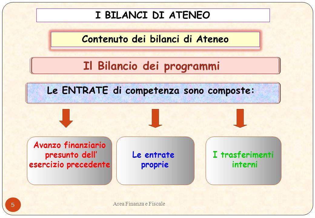 Area Finanza e Fiscale 4 Criteri di formazione (Artt.da 12 a 16 bis Manuale di Amministrazione) Il bilancio consolidato di Ateneo è formulato: Il bilancio pluriennale è formulato: Il bilancio di previsione annuale è formulato : In termini di cassa Per programmi di competenza per programmi di competenza Per programmi di competenza I BILANCI DI ATENEO