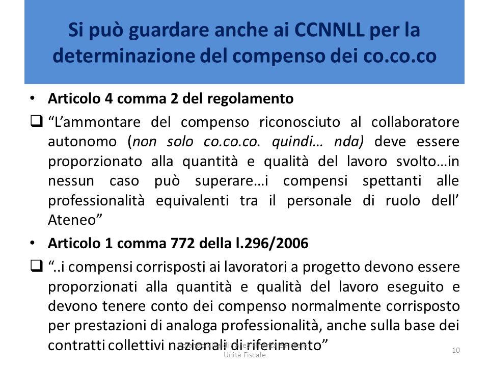 Si può guardare anche ai CCNNLL per la determinazione del compenso dei co.co.co Articolo 4 comma 2 del regolamento Lammontare del compenso riconosciut