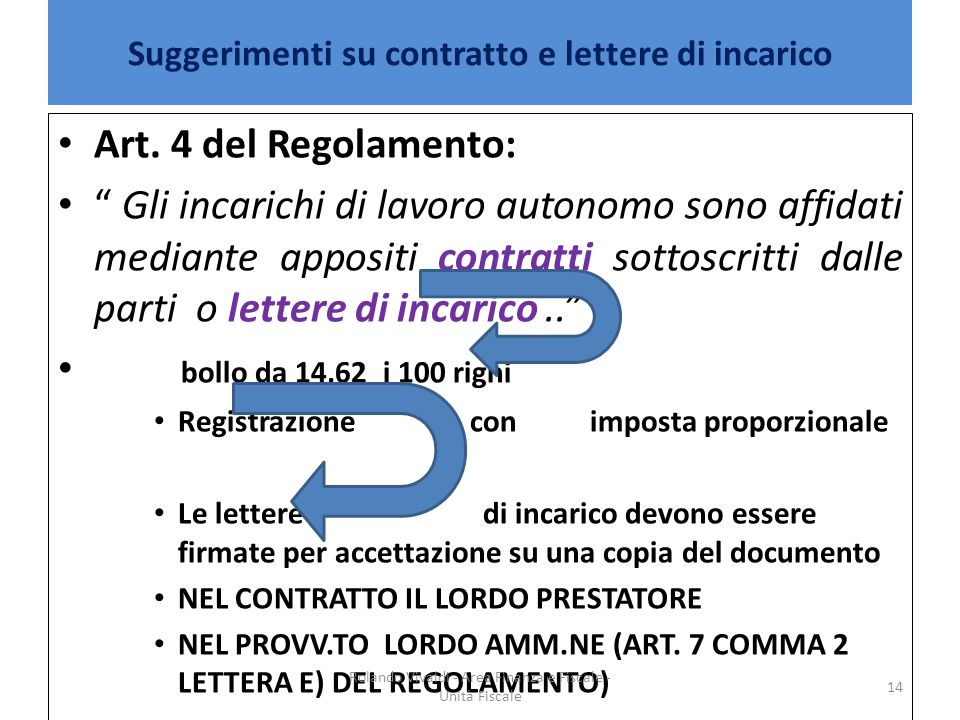 Suggerimenti su contratto e lettere di incarico Art. 4 del Regolamento: Gli incarichi di lavoro autonomo sono affidati mediante appositi contratti sot