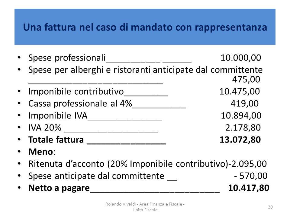 Una fattura nel caso di mandato con rappresentanza Spese professionali_________________10.000,00 Spese per alberghi e ristoranti anticipate dal commit