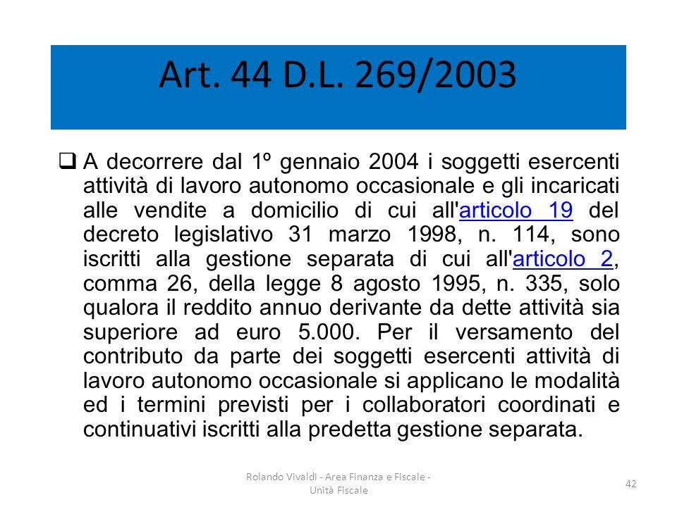 Art. 44 D.L. 269/2003 A decorrere dal 1º gennaio 2004 i soggetti esercenti attività di lavoro autonomo occasionale e gli incaricati alle vendite a dom