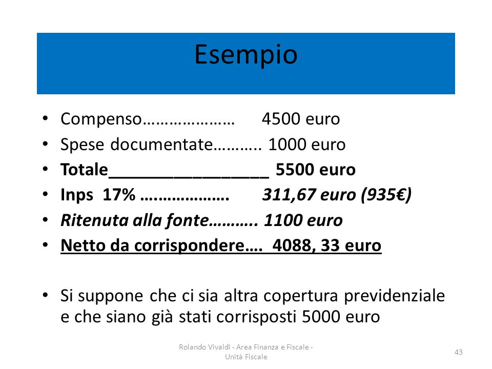 Esempio Compenso………………… 4500 euro Spese documentate……….. 1000 euro Totale_________________ 5500 euro Inps 17% ….……………. 311,67 euro (935) Ritenuta alla