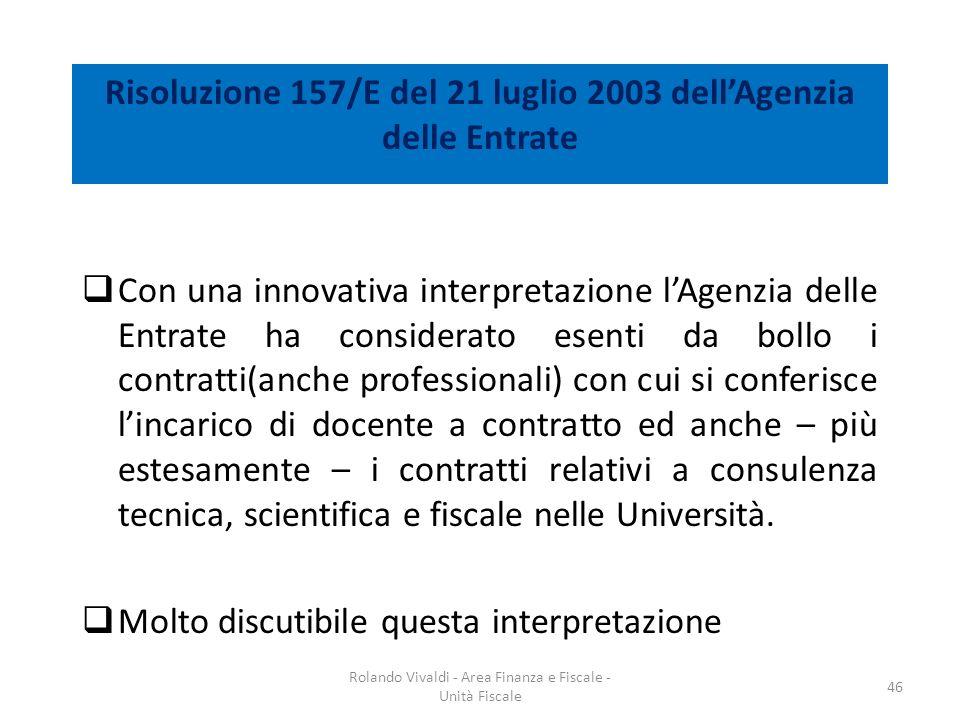 Risoluzione 157/E del 21 luglio 2003 dellAgenzia delle Entrate Con una innovativa interpretazione lAgenzia delle Entrate ha considerato esenti da boll