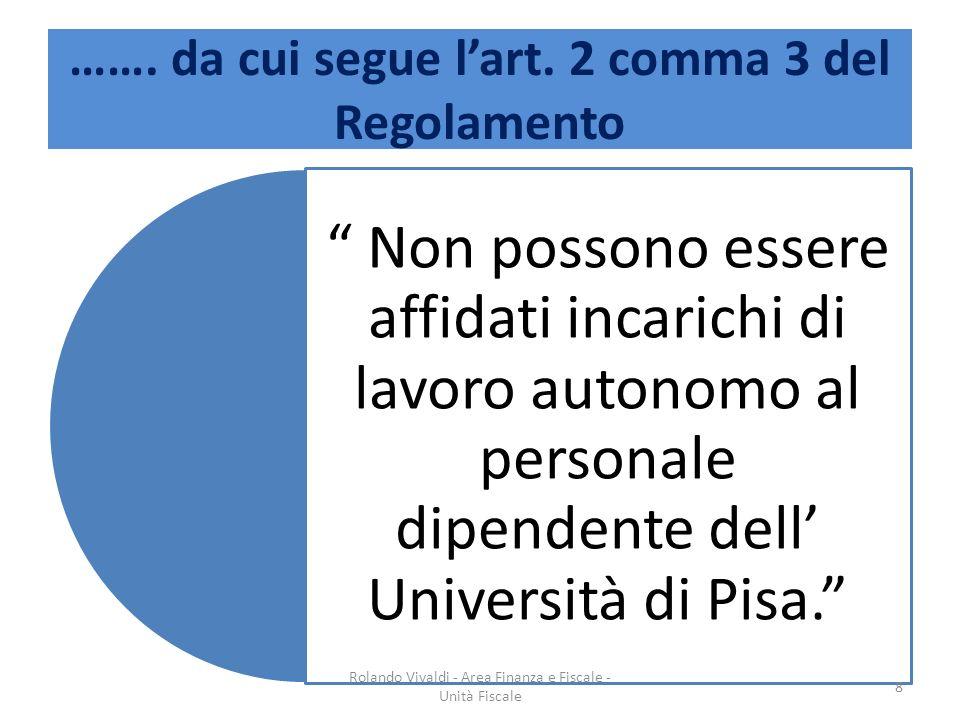 ……. da cui segue lart. 2 comma 3 del Regolamento 8 Rolando Vivaldi - Area Finanza e Fiscale - Unità Fiscale