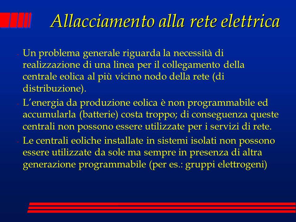Allacciamento alla rete elettrica - Un problema generale riguarda la necessità di realizzazione di una linea per il collegamento della centrale eolica