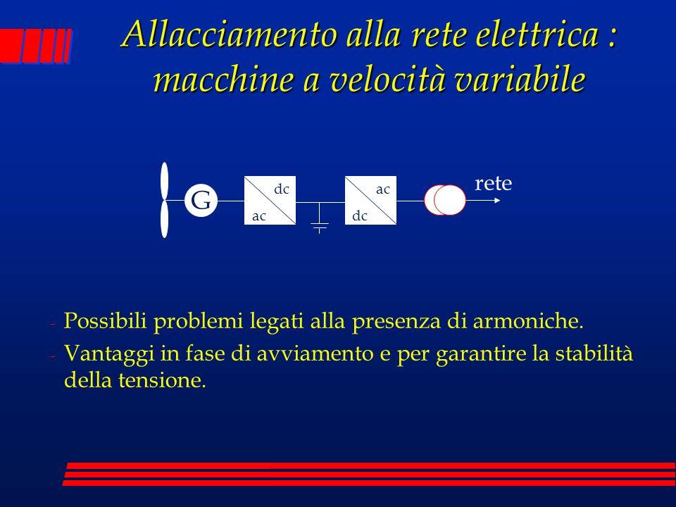 Allacciamento alla rete elettrica : macchine a velocità variabile - Possibili problemi legati alla presenza di armoniche. - Vantaggi in fase di avviam