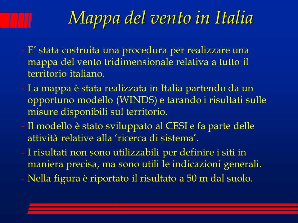 Mappa del vento in Italia -E stata costruita una procedura per realizzare una mappa del vento tridimensionale relativa a tutto il territorio italiano.