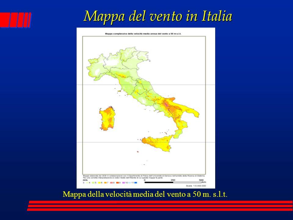 Mappa del vento in Italia Mappa della velocità media del vento a 50 m. s.l.t.