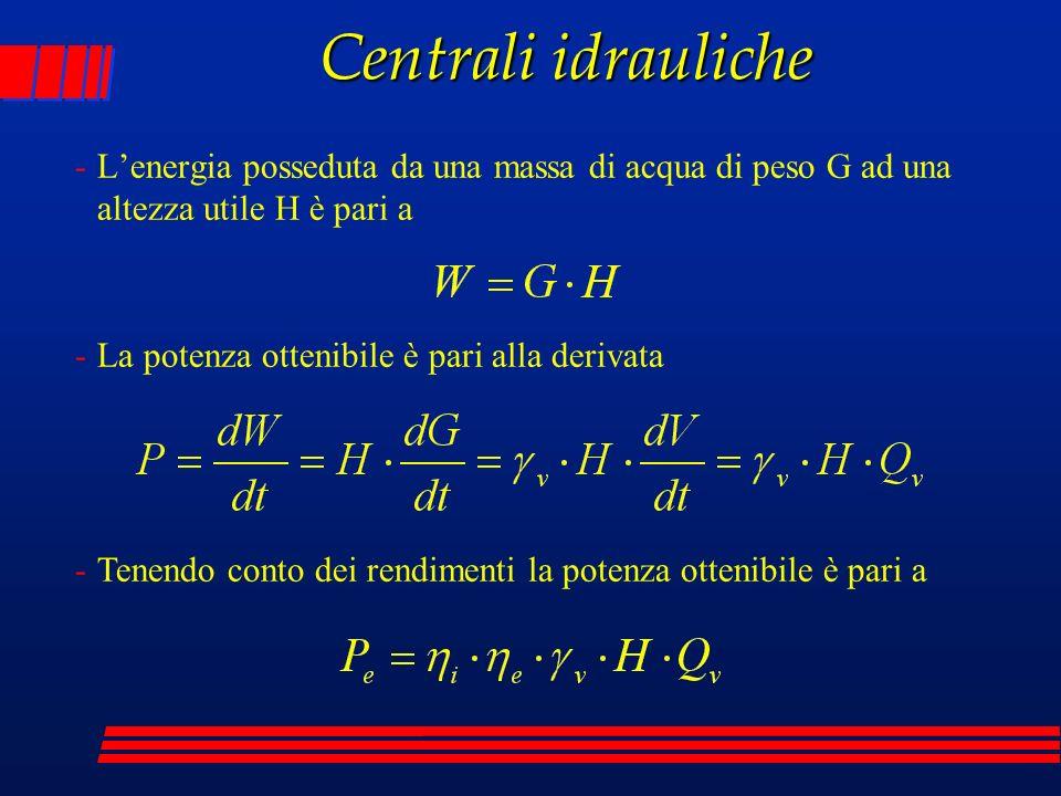 -Lenergia posseduta da una massa di acqua di peso G ad una altezza utile H è pari a Centrali idrauliche -La potenza ottenibile è pari alla derivata -T