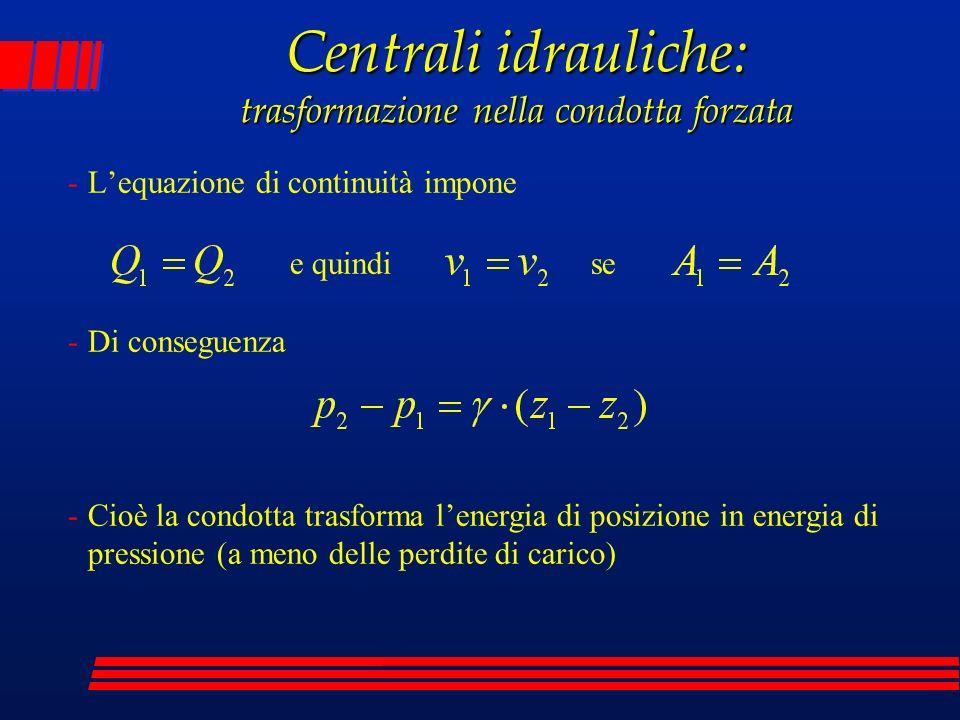 -Lequazione di continuità impone Centrali idrauliche: trasformazione nella condotta forzata -Di conseguenza -Cioè la condotta trasforma lenergia di po