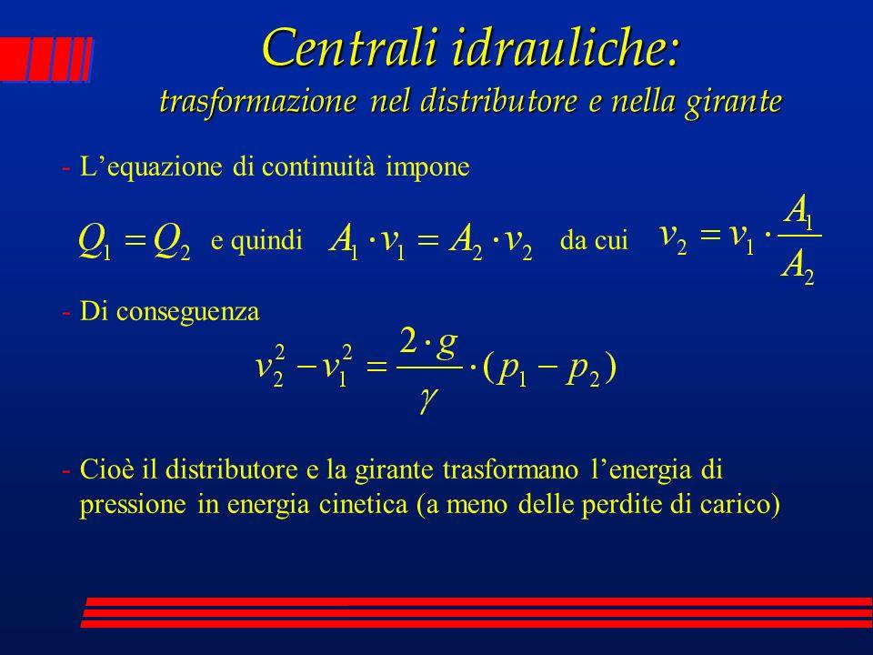 -Lequazione di continuità impone Centrali idrauliche: trasformazione nel distributore e nella girante -Di conseguenza -Cioè il distributore e la giran