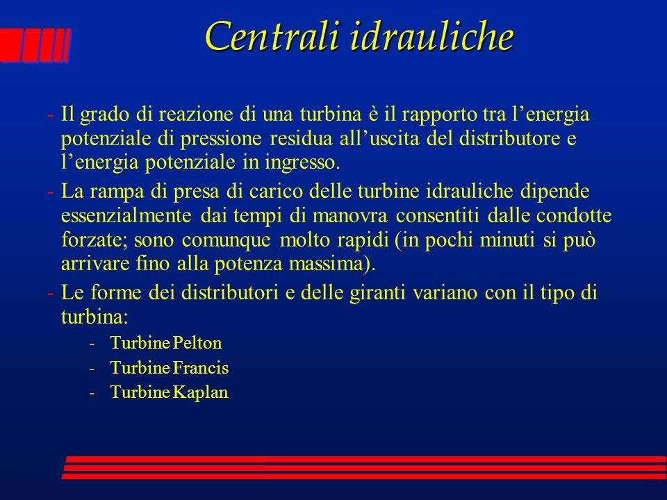 -Il grado di reazione di una turbina è il rapporto tra lenergia potenziale di pressione residua alluscita del distributore e lenergia potenziale in in