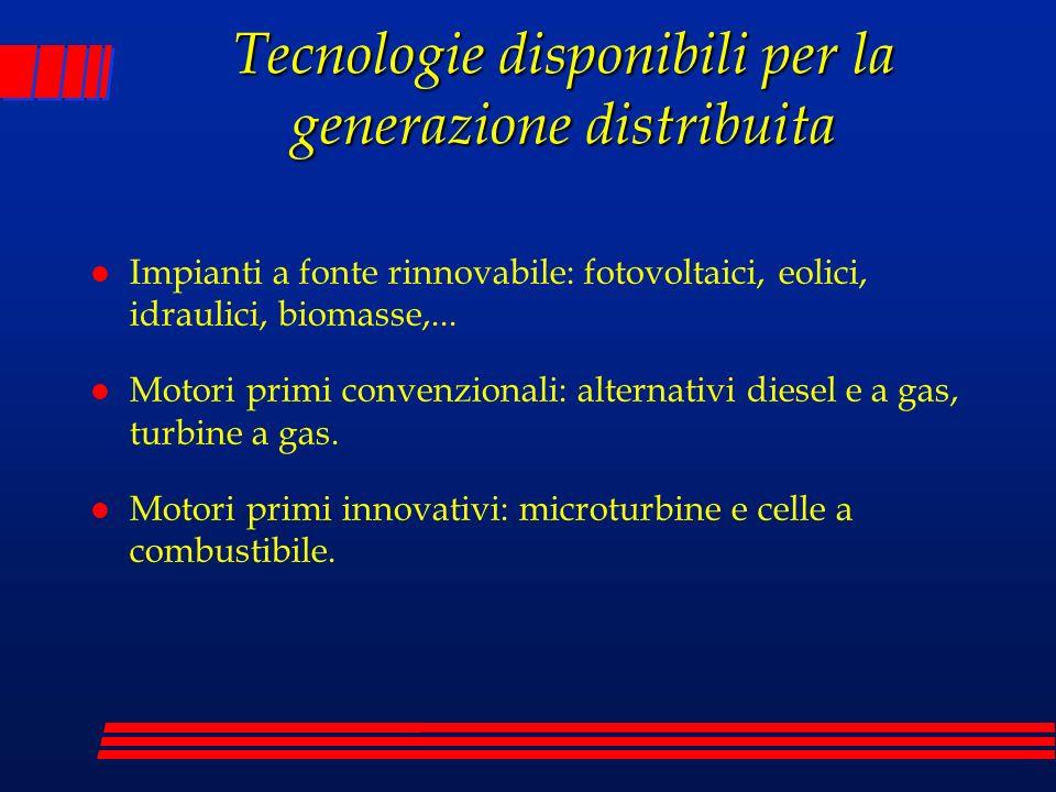 Tecnologie disponibili per la generazione distribuita l Impianti a fonte rinnovabile: fotovoltaici, eolici, idraulici, biomasse,... l Motori primi con