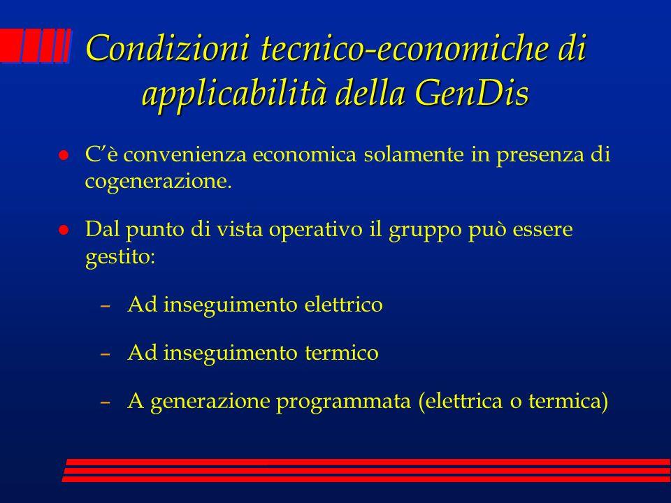 Condizioni tecnico-economiche di applicabilità della GenDis l Cè convenienza economica solamente in presenza di cogenerazione. l Dal punto di vista op