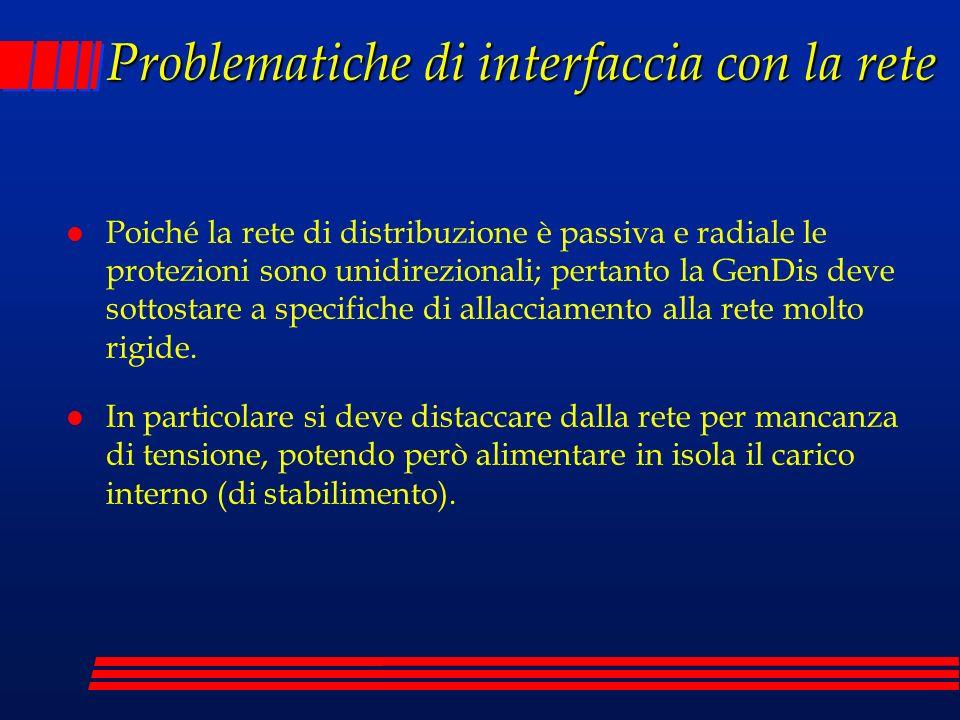 Problematiche di interfaccia con la rete l Poiché la rete di distribuzione è passiva e radiale le protezioni sono unidirezionali; pertanto la GenDis d
