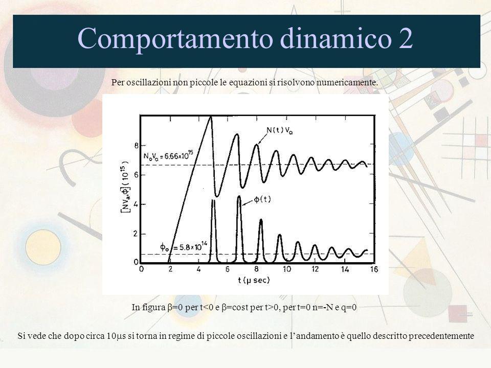 Comportamento dinamico 2 Per oscillazioni non piccole le equazioni si risolvono numericamente. In figura =0 per t 0, per t=0 n=-N e q=0 Si vede che do