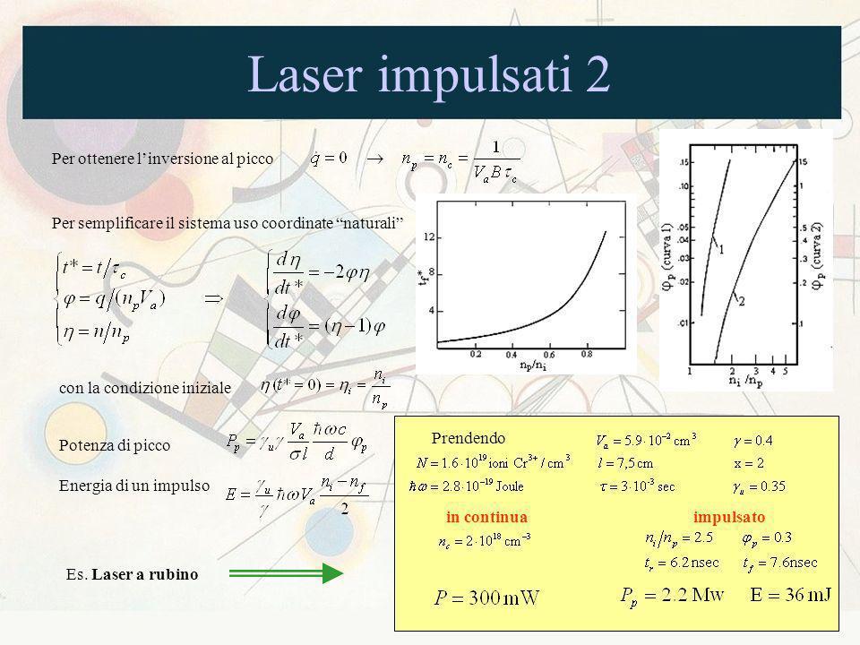 Laser impulsati 2 Per ottenere linversione al picco Per semplificare il sistema uso coordinate naturali con la condizione iniziale Potenza di picco En