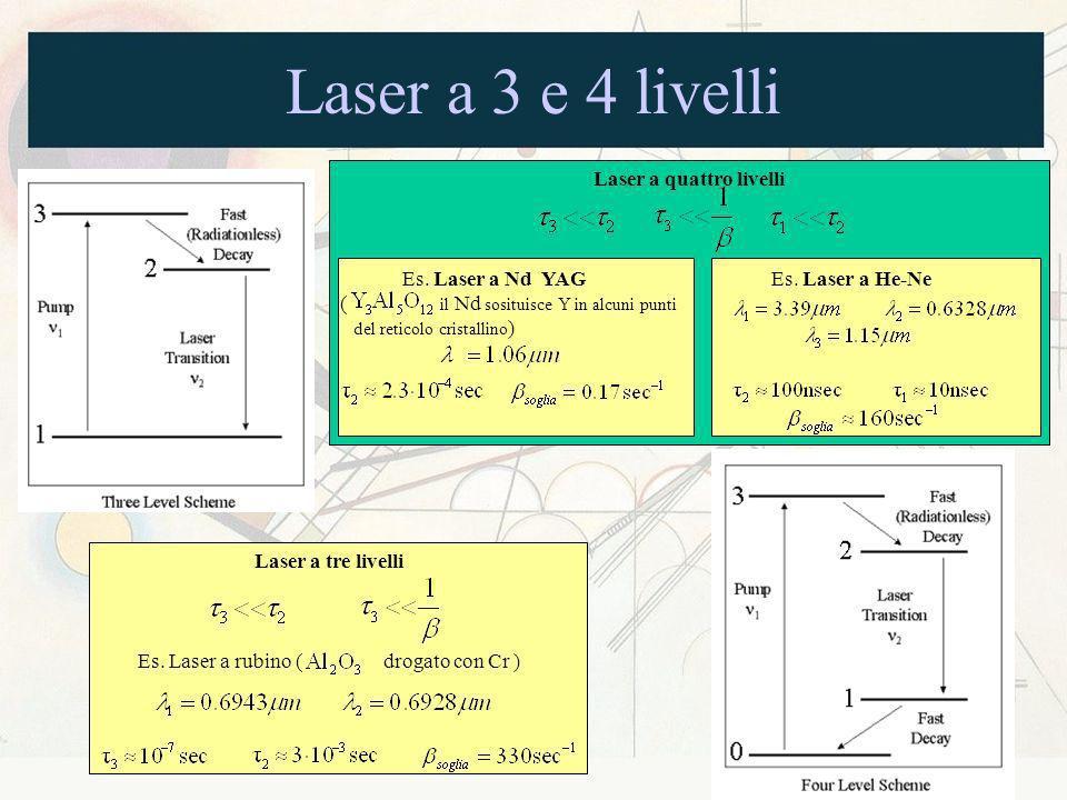 Laser a 3 e 4 livelli Laser a tre livelli Es. Laser a rubino ( drogato con Cr ) Laser a quattro livelli Es. Laser a Nd YAG Es. Laser a He-Ne ( il Nd s