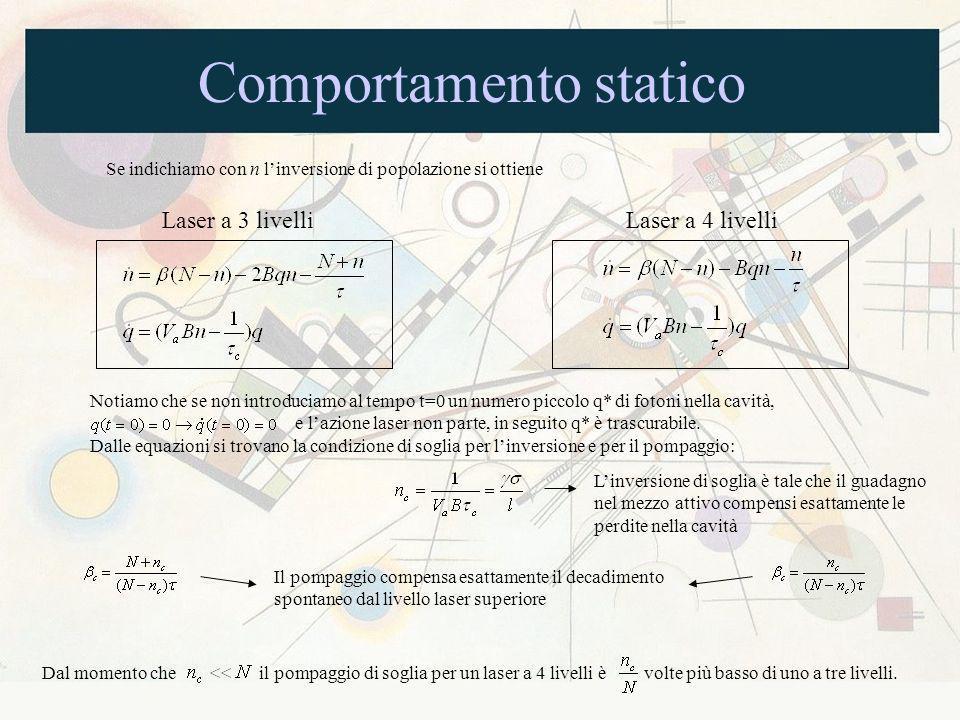 Comportamento statico Se indichiamo con n linversione di popolazione si ottiene Laser a 3 livelliLaser a 4 livelli Notiamo che se non introduciamo al