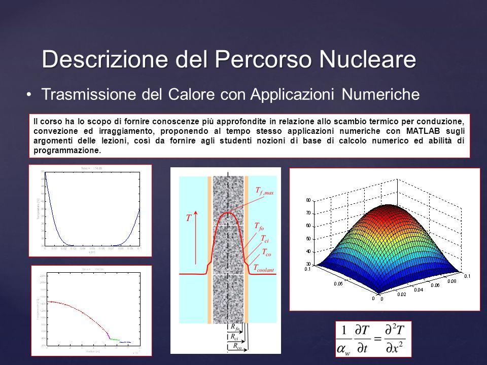 Descrizione del Percorso Nucleare Trasmissione del Calore con Applicazioni Numeriche Il corso ha lo scopo di fornire conoscenze più approfondite in re