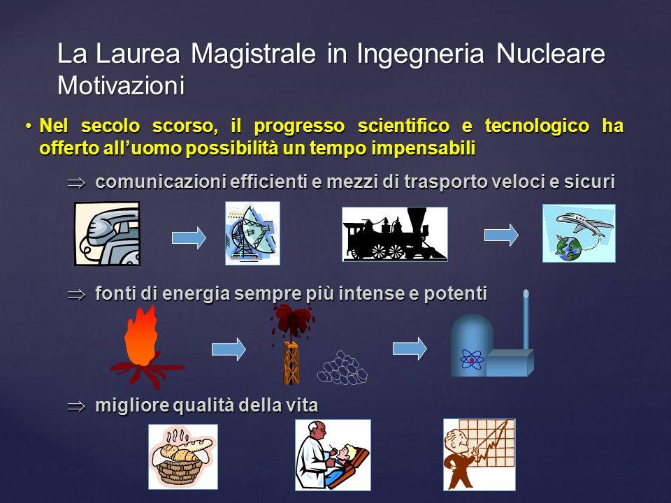 La Laurea Magistrale in Ingegneria Nucleare Motivazioni Nel secolo scorso, il progresso scientifico e tecnologico ha offerto alluomo possibilità un te