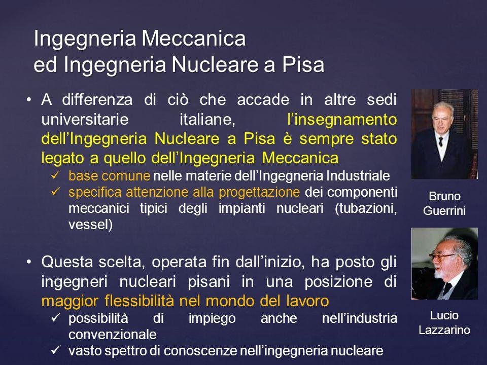 Ingegneria Meccanica ed Ingegneria Nucleare a Pisa A differenza di ciò che accade in altre sedi universitarie italiane, linsegnamento dellIngegneria N