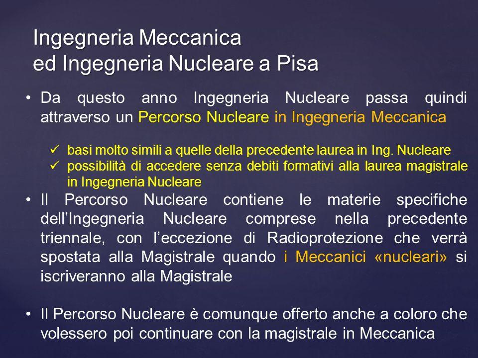 Ingegneria Meccanica ed Ingegneria Nucleare a Pisa Da questo anno Ingegneria Nucleare passa quindi attraverso un Percorso Nucleare in Ingegneria Mecca
