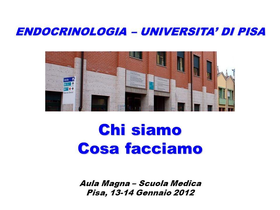 ENDOCRINOLOGIA – UNIVERSITA DI PISA Chi siamo Cosa facciamo Aula Magna – Scuola Medica Pisa, 13-14 Gennaio 2012