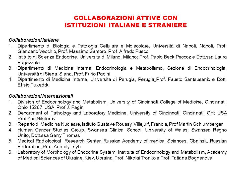 Collaborazioni Italiane 1.Dipartimento di Biologia e Patologia Cellulare e Molecolare, Università di Napoli, Napoli, Prof.