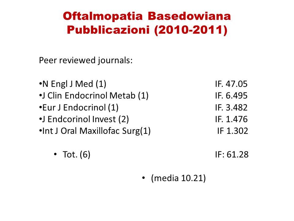 Oftalmopatia Basedowiana Pubblicazioni (2010-2011) Peer reviewed journals: N Engl J Med (1) IF.
