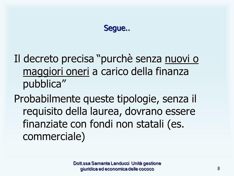 Dott.ssa Samanta Landucci Unità gestione giuridica ed economica delle cococo8 Segue..