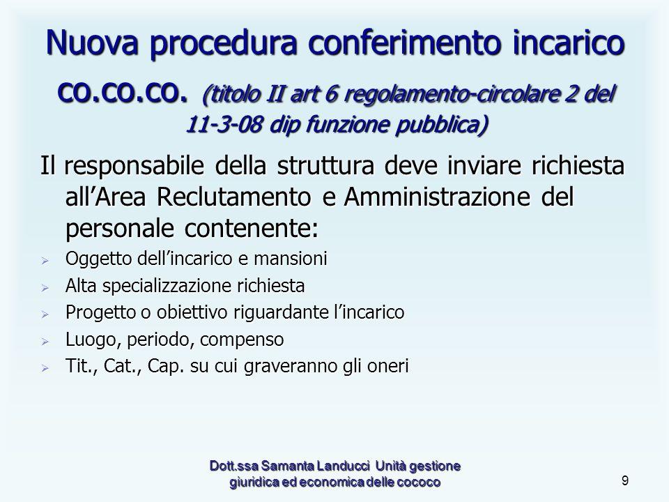 Dott.ssa Samanta Landucci Unità gestione giuridica ed economica delle cococo9 Nuova procedura conferimento incarico co.co.co.