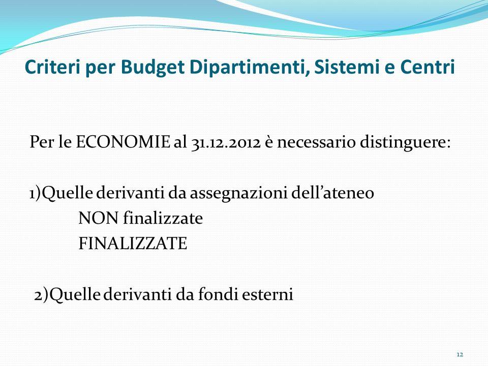 Criteri per Budget Dipartimenti, Sistemi e Centri Per le ECONOMIE al 31.12.2012 è necessario distinguere: 1)Quelle derivanti da assegnazioni dellatene