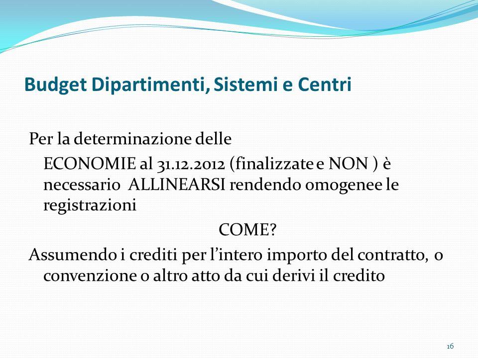 Budget Dipartimenti, Sistemi e Centri Per la determinazione delle ECONOMIE al 31.12.2012 (finalizzate e NON ) è necessario ALLINEARSI rendendo omogene