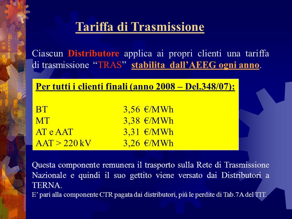 Tariffa di Trasmissione Ciascun Distributore applica ai propri clienti una tariffa di trasmissione TRAS stabilita dallAEEG ogni anno. Per tutti i clie