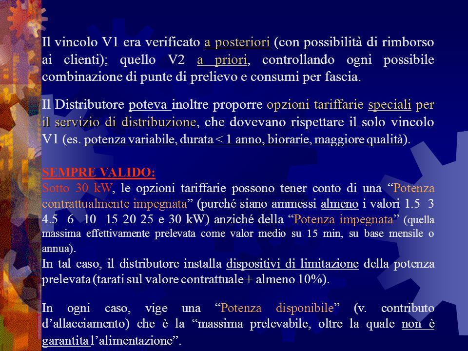 a posteriori a priori Il vincolo V1 era verificato a posteriori (con possibilità di rimborso ai clienti); quello V2 a priori, controllando ogni possib