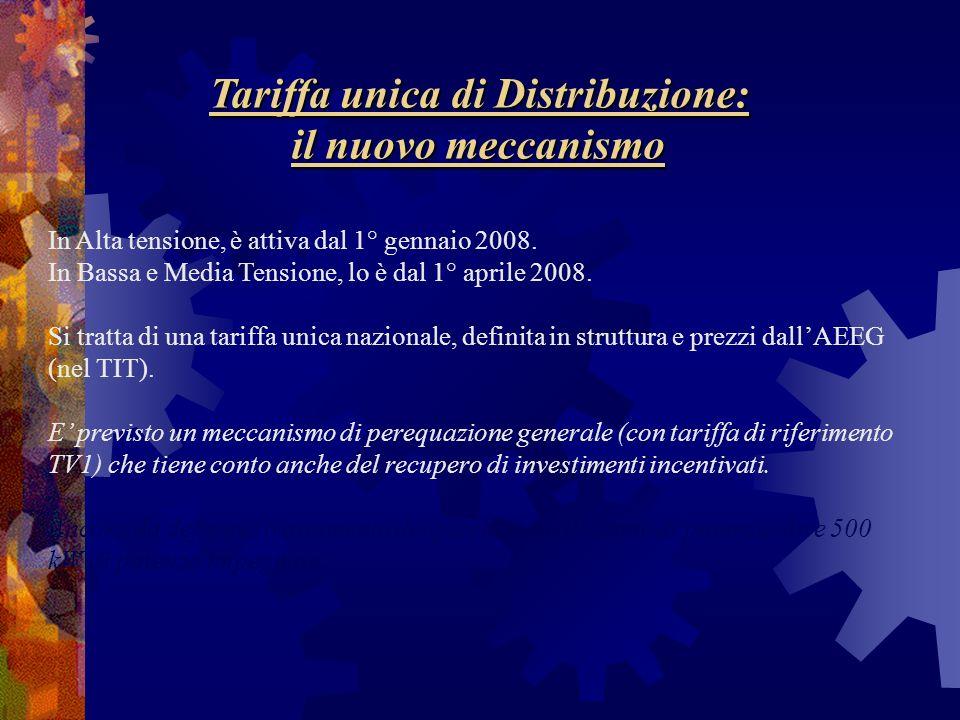 Tariffa unica di Distribuzione: il nuovo meccanismo In Alta tensione, è attiva dal 1° gennaio 2008. In Bassa e Media Tensione, lo è dal 1° aprile 2008