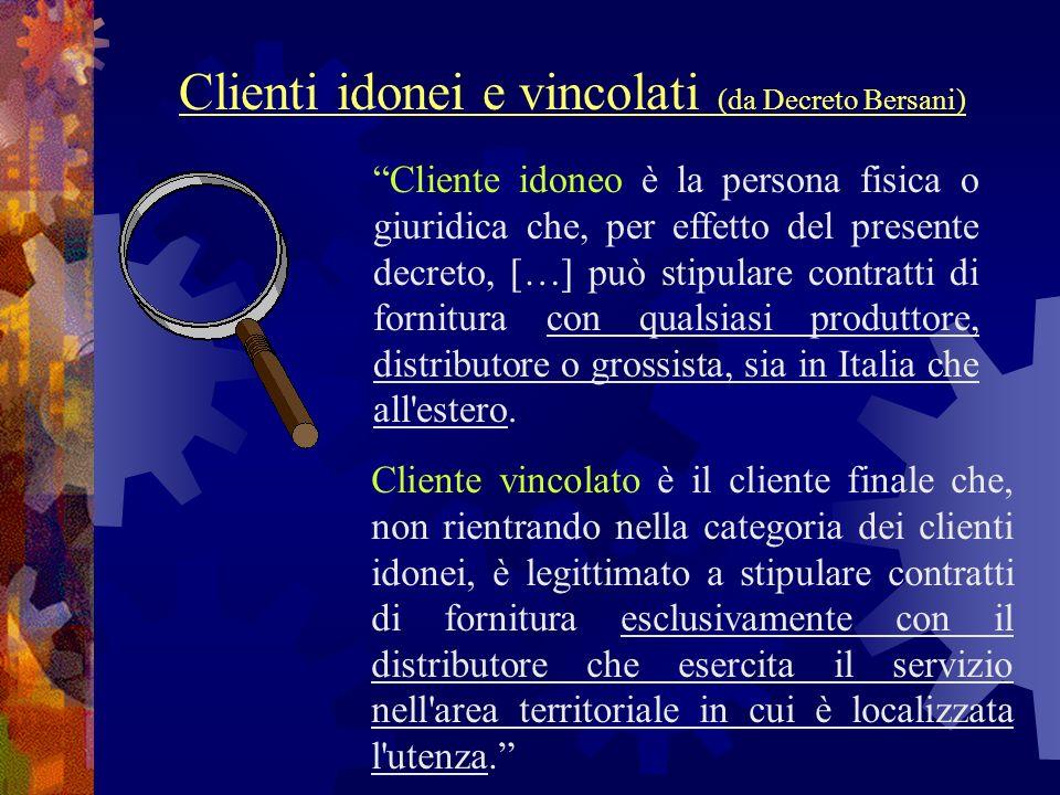 Cliente idoneo è la persona fisica o giuridica che, per effetto del presente decreto, […] può stipulare contratti di fornitura con qualsiasi produttor
