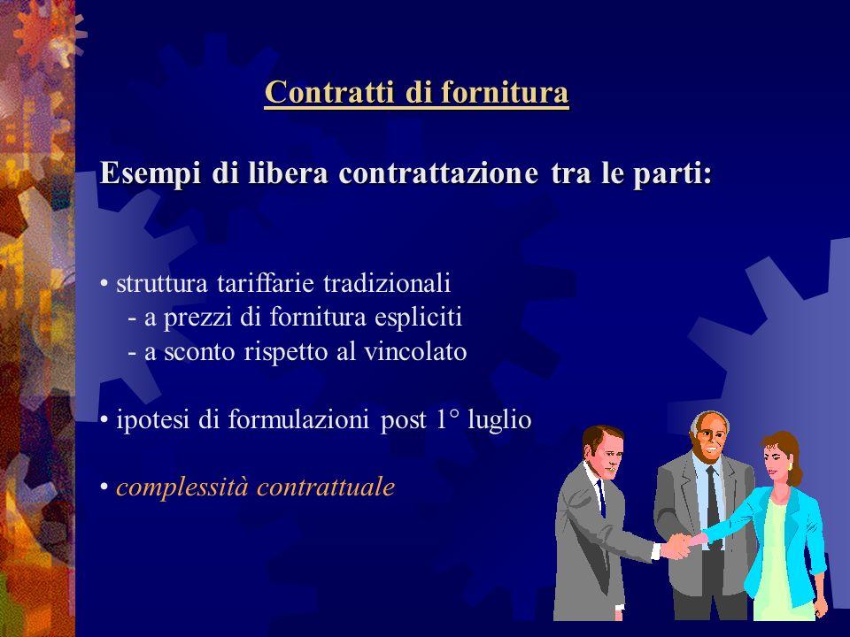 Contratti di fornitura Esempi di libera contrattazione tra le parti: Esempi di libera contrattazione tra le parti: struttura tariffarie tradizionali -