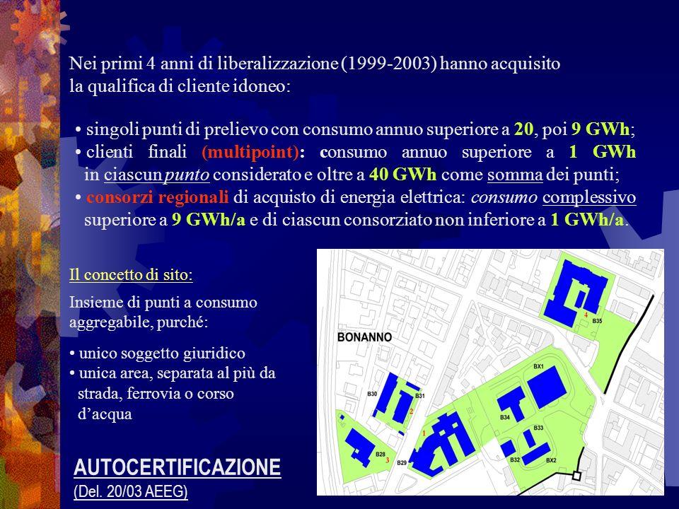 singoli punti di prelievo con consumo annuo superiore a 20, poi 9 GWh; clienti finali (multipoint): consumo annuo superiore a 1 GWh in ciascun punto c