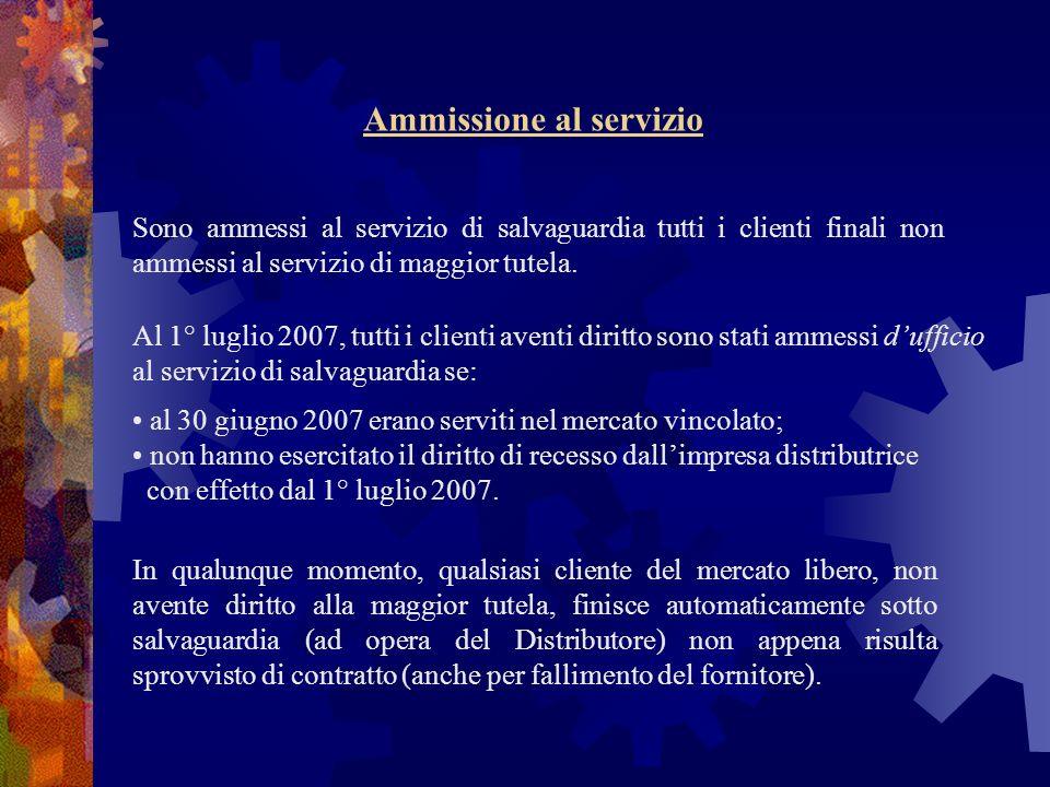 Ammissione al servizio Al 1° luglio 2007, tutti i clienti aventi diritto sono stati ammessi dufficio al servizio di salvaguardia se: al 30 giugno 2007