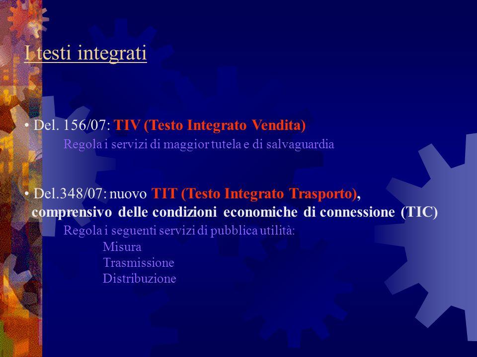 I testi integrati Del. 156/07: TIV (Testo Integrato Vendita) Regola i servizi di maggior tutela e di salvaguardia Del.348/07: nuovo TIT (Testo Integra