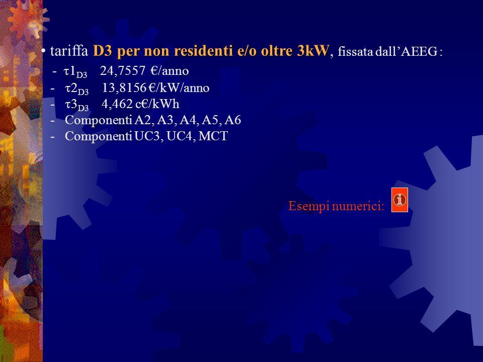 D3 per non residenti e/o oltre 3kW, tariffa D3 per non residenti e/o oltre 3kW, fissata dallAEEG : - 1 D3 24,7557 /anno - 2 D3 13,8156 /kW/anno - 3 D3